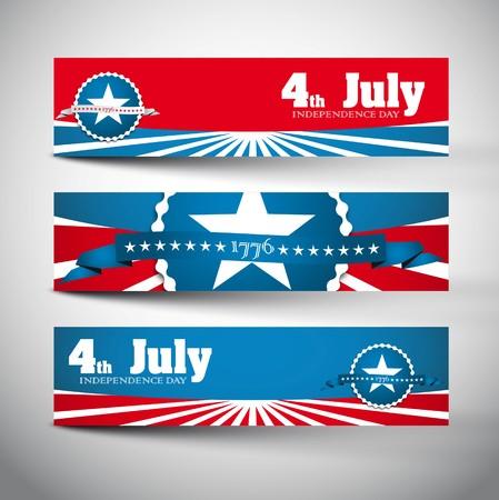 julio: Banderas conjunto estilo con las etiquetas Día de la Independencia, diseño del vector