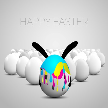 paschal: Funny Easter egg with rabbit ears, Cyan, magenta, yellow, black color stain on eggs, CMYK color theme