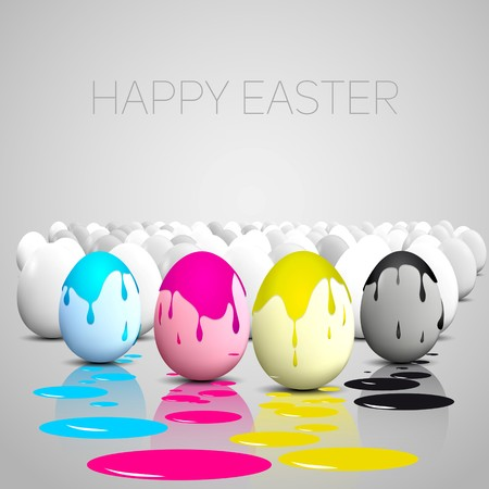 paschal: Funny Easter eggs, Cyan, magenta, yellow, black color stain on eggs, CMYK color theme Illustration