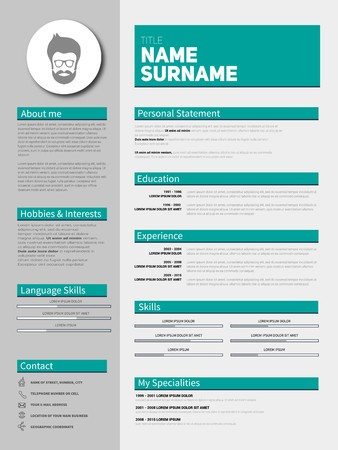 Minimalist CV, resume template with simple design, vector Vetores