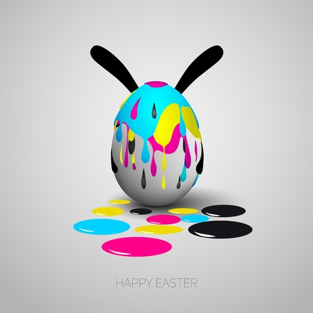 Funny Easter egg with rabbit ears, Cyan, magenta, yellow, black color stain on eggs, CMYK color theme