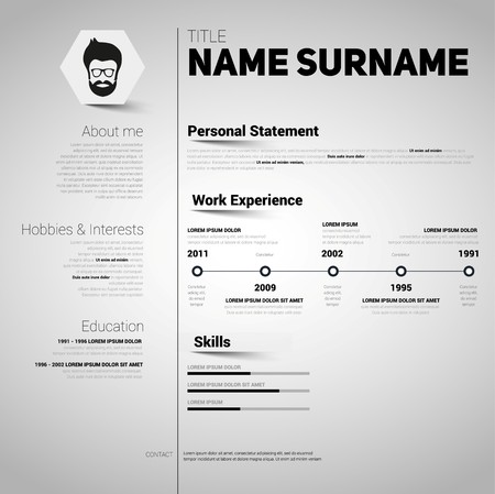 design template: Minimalist CV, resume template with simple design, vector