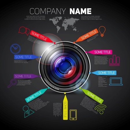 company name: Vector company name brochure template with camera lens and paper stripes and icons, dark version