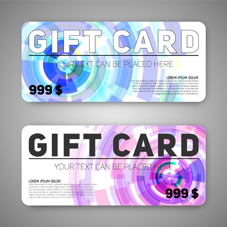 prepaid: A set of gift (discount) cards with abstract circles background