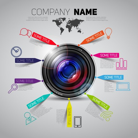 company name: Vector company name brochure template with camera lens and paper stripes and icons