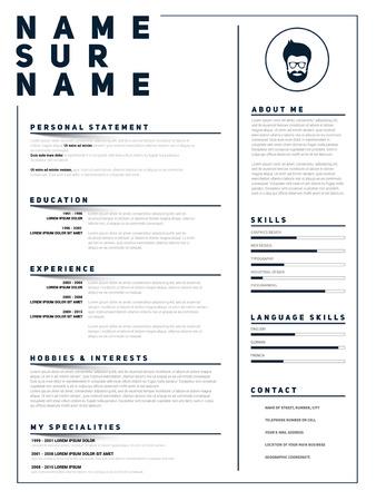 sample: Minimalist CV, resume template with simple design, vector