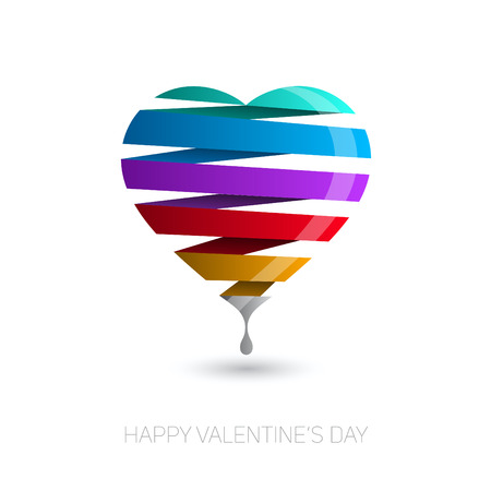 romantic sex: Heart from paper stripe, rainbow color, Valentines day card vector background Illustration
