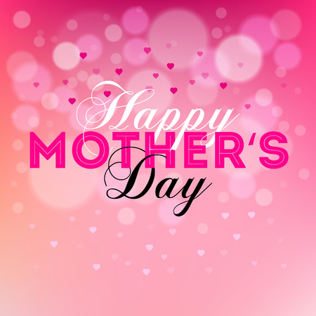 Happy Mother's day text design with many hearths on blurred pink background Illusztráció