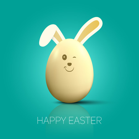 ester: Easter egg with Bunny ears, vector card illustration