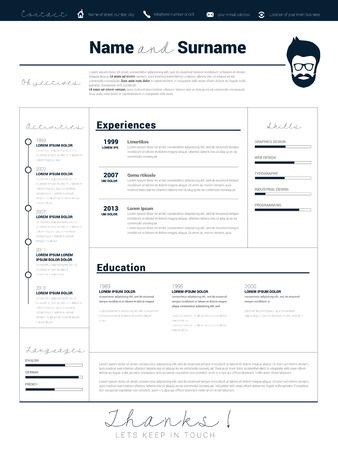 minimalist: Minimalist CV, resume template with simple design, vector