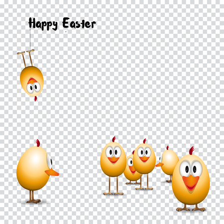 raw egg: Funny Easter eggs chicks, Happy easter card, illustration on trasparent background