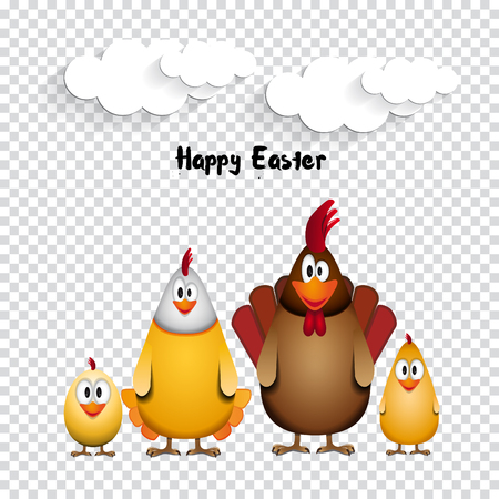 chicken family: Happy Easter - Funny chicken family - vector illustration on transparent background
