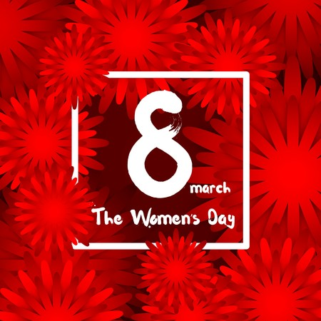 cut flowers: International Happy Womens Day - 8 March, background with paper cut red Flowers, Trendy Design Template Illustration