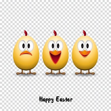 poult: Happy easter card, Funny chicken eggs, transparent background vector illustration Illustration