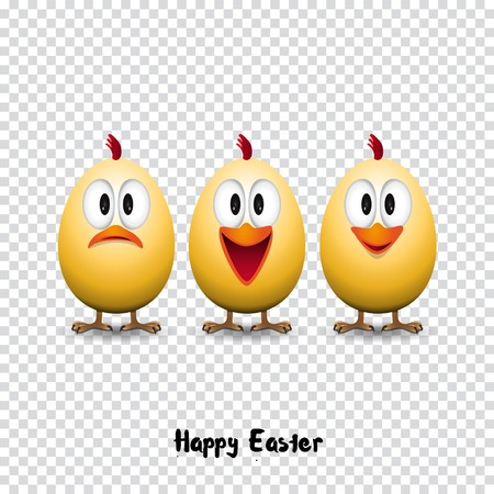 Happy easter card, Funny chicken eggs, transparent background vector illustration Illustration