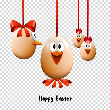 Funny Easter eggs with a bow, Happy Easter Card, on transparent background Illustration