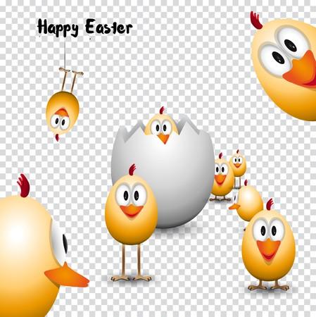 재미 있은 부활절 달걀 병아리, 행복 한 부활절 카드, trasparent 배경에 그림 일러스트