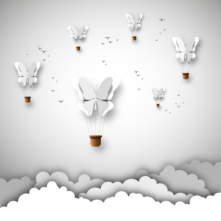 Papercut ontwerp, Vector papier wolken en ballonnen met vlinders