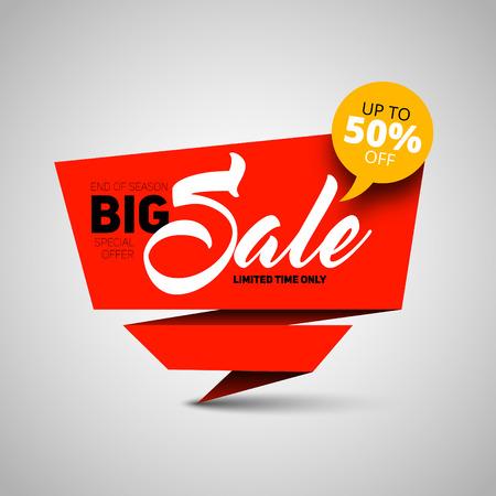 flashes: Big Sale banner, shop template design, 50 percent off. vector style Illustration