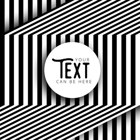 text box design: Abstract round text box design with minimal black and white background, vector illustration, optical illusion