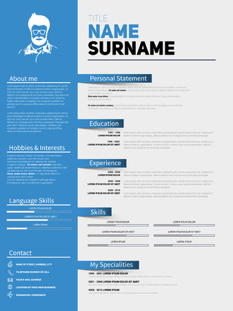 Minimalist CV, Resume Template With Simple Design, Vector Visual CV, Curriculum  Vitae,