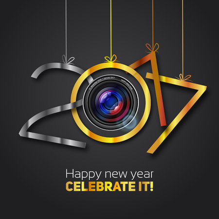 nightlife: Happy New Year, 2017, steel with silver, golf and bronze color, lens optics Happy new year illustration
