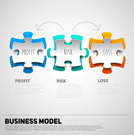 business puzzle: Puzzle business model in papercut style, profit, risk and loss vector illustration