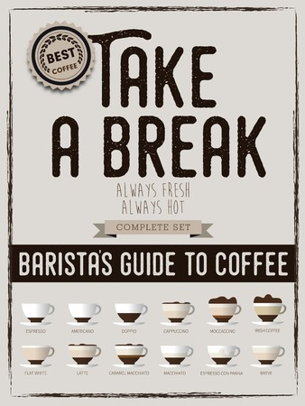 best guide: Take a break poster, coffee paper info, best coffee drink styles, baristas guide to coffee, types of coffee drinks, Coffee types and their preparation, vector poster Illustration
