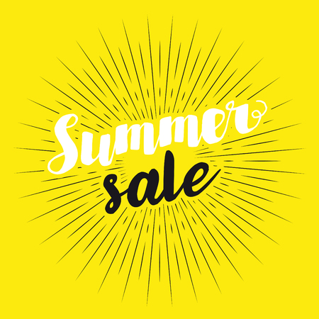 Summer Sale. Drawn lettering. Vector typography. Usable for cards and posters, sale banners, billboards and sale signs