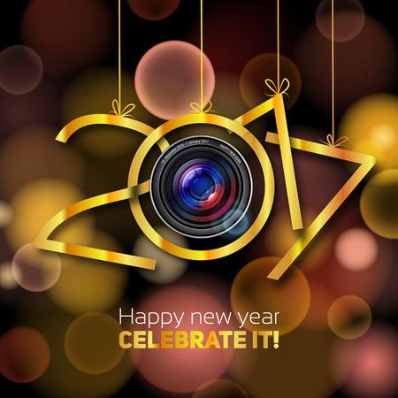 fiestas electronicas: Feliz Año Nuevo de 2017, de acero con la plata, el golf y el color de bronce, óptica de la lente feliz año nuevo ilustración, fondo de oro borrosa