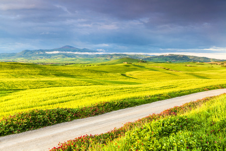 Tuscany, Landscape panorama, After strom with road, amazing clouds,Toscana - Italy 写真素材