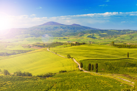 Tuscany, Landscape panorama with sun, Gladiator road with cypress trees,Toscana - Italy