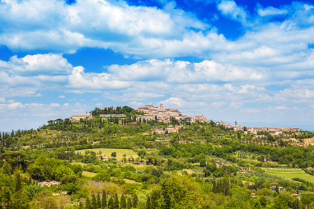 Montepulciano landscape view, Ancient small town in Tuscany, Italy Stock Photo