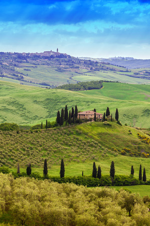 Belvedere landscape at sunrise morning. Idyllic view of hilly farmland in Tuscany in beautiful morning light, Italy. 新聞圖片