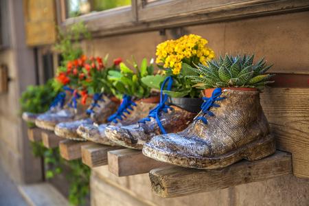 Macetas Decorativas En Forma De Zapatos Con Flores