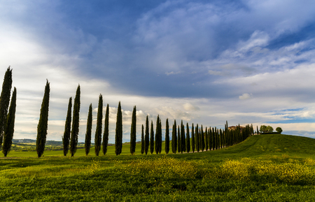 Tuscany, Landscape panorama, villa on the hill, magical clouds,Toscana - Italy 版權商用圖片