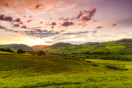 pienza: Tuscany, Landscape panorama at sunrise morning, magical clouds under Pienza,Toscana - Italy