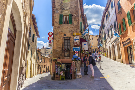 pienza: Colorful street in Pienza, Tuscany, Italy