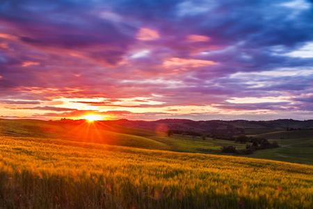 pienza: Beautiful Tuscany landscape at sunset, Italy