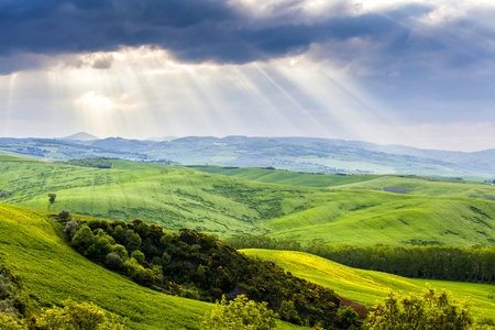 Tuscany, Landscape panorama, magical clouds,Toscana - Italy Stock Photo