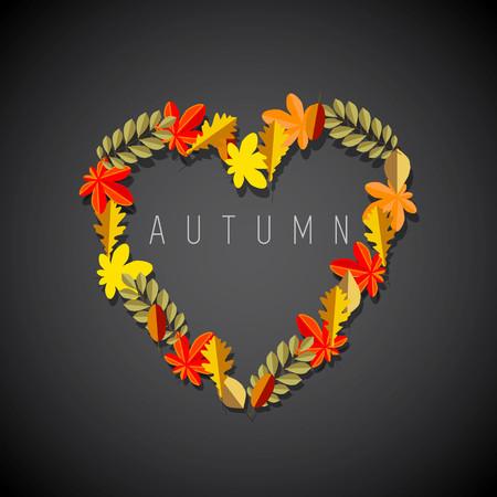 Autumn love heart symbol; Fall leaves on dark background theme 矢量图像