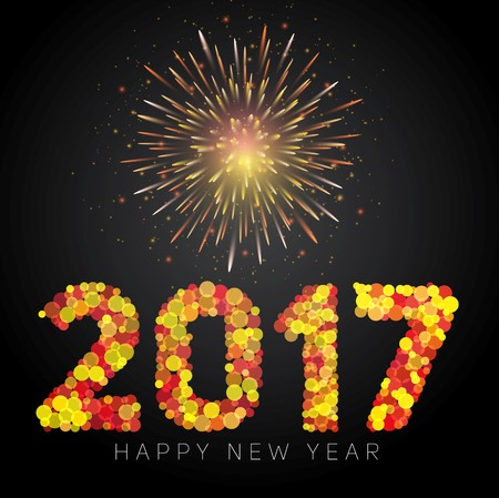 Happy New Year 2017, text in dot style vector illustration on fireworks background
