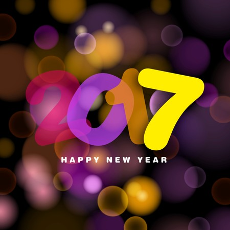 Happy New Year 2017 in transparent style text, vector illustration on blurred background
