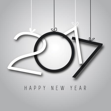 cores Feliz Ano Novo de 2017, preto e branco