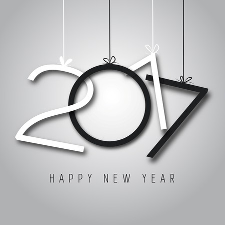 new years eve background: Happy New Year, 2017, black and white colors Illustration