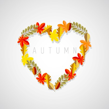 Autumn love heart symbol; Fall leaves on dark background theme  イラスト・ベクター素材