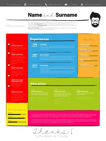 Minimalist CV, resume template with simple design and brush drawed lines, vector