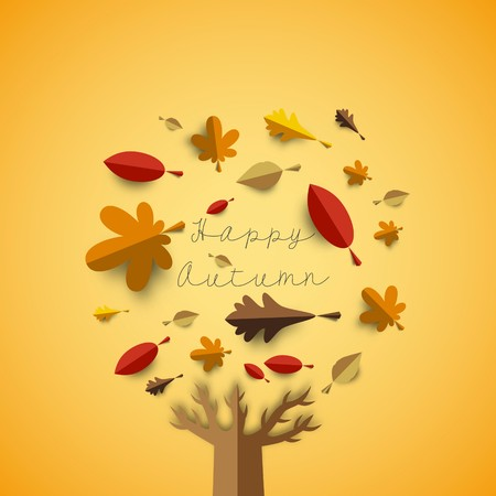 Autumn papercut illustration with abstract colorful leafs and tree isolated on yellow background