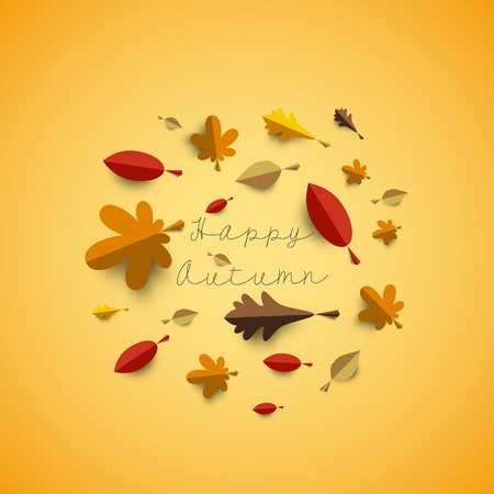 Autumn papercut illustration with abstract colorful leafs and paper banner isolated on yellow background