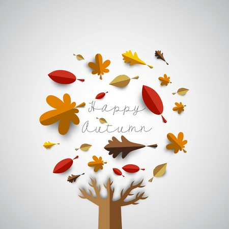 Autumn papercut illustration with abstract colorful leafs and tree isolated on white background